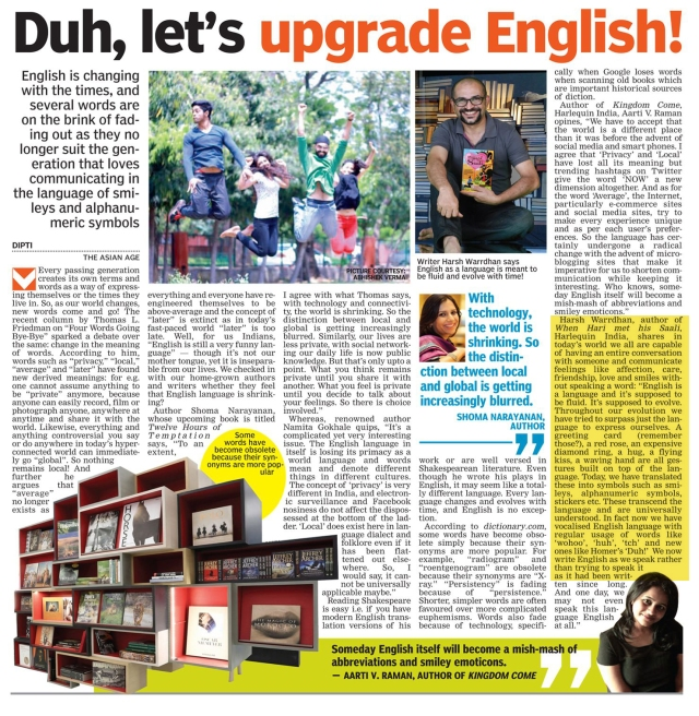 The Asian Age, May 9, 2014, Pg 21, yellow New Delhi
